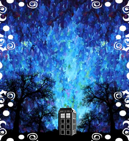 Lonely time travel phone box art painting Sticker