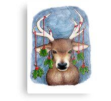 Deer with Holly Metal Print
