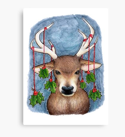 Deer with Holly Canvas Print