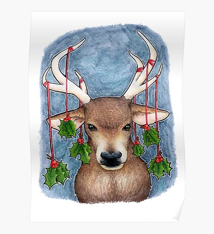 Deer with Holly Poster