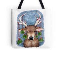 Deer with Holly Tote Bag