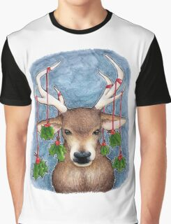 Deer with Holly Graphic T-Shirt