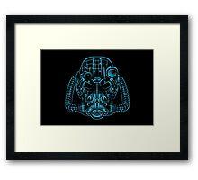 Power Wireframe Blue Framed Print
