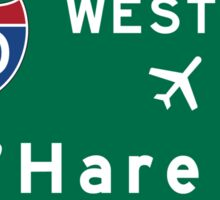 O'Hare Airport Road Sign, Chicago, Illinois Sticker