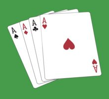 ACE, Aces High, Gamble, Four Aces, Poker, Playing Cards, Winning Hand, on green by TOM HILL - Designer