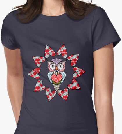 Owl love gifts Womens Fitted T-Shirt