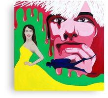 The Melting Head of Andy Warhol Contemplating the Long Term Effects of Scuba Diving on Prom Fashion Canvas Print