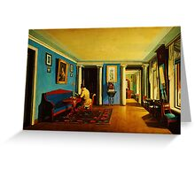 interiors reception room with columns on the mezzanine Greeting Card