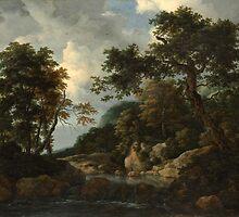 Jacob van Ruisdael    The Forest Stream (c. 1660) by Adam Asar