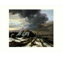 Jacob van Ruisdael  Winter Landscape with a view of the Amstel River and Amsterdam (the 1650s) Art Print