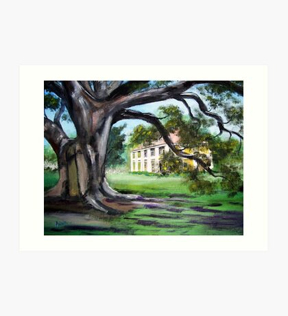 Painted Houmas House from Under the Trees Art Print