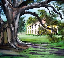 Painted Houmas House from Under the Trees by Anne Guimond