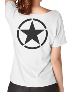 ARMY, Army Star & Circle, Jeep, War, WWII, America, American, USA, in Black Women's Relaxed Fit T-Shirt