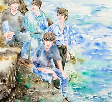 THE BEATLES at the sea WATERCOLOR PAINTING by lautir