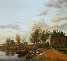 Jan van der Heyden  A country house on the Vliet near Delft (c. 1660) by Adam Asar