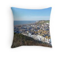Hastings from the Cliff top Throw Pillow
