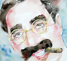 GROUCHO MARX watercolor portrait.2 by lautir