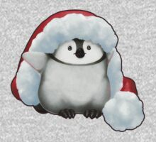Santa Hat Wearing Baby Emperor Penguin Kids Tee