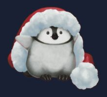 Santa Hat Wearing Baby Emperor Penguin T-Shirt