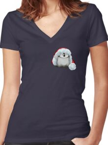 Santa Hat Wearing Baby Emperor Penguin Women's Fitted V-Neck T-Shirt