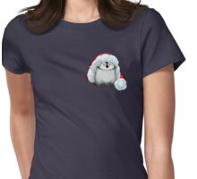 Santa Hat Wearing Baby Emperor Penguin Womens Fitted T-Shirt
