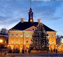 Christmas Tree outside the neo-classical Tartu Town Hall by Susan Wellington