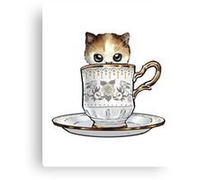Kitten in a Tea Cup, original colors Calico Kitten floral vines Canvas Print