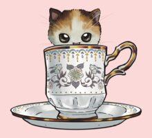 Kitten in a Tea Cup, original colors Calico Kitten floral vines Kids Tee