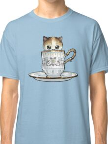 Kitten in a Tea Cup, original colors Calico Kitten floral vines Classic T-Shirt