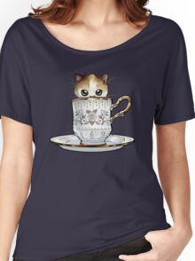 Kitten in a Tea Cup, original colors Calico Kitten floral vines Women's Relaxed Fit T-Shirt