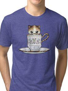 Kitten in a Tea Cup, original colors Calico Kitten floral vines Tri-blend T-Shirt