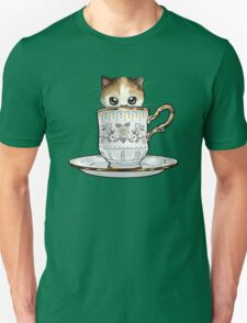 Kitten in a Tea Cup, original colors Calico Kitten floral vines Unisex T-Shirt