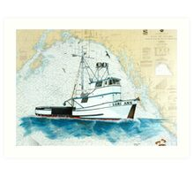 LORI ANN AK Crab Fish Boat Cathy Peek Nautical Chart Art Print