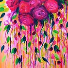 ROSES ARE RAD 2- Bold Pink Red Roses Floral Bouquet Vines, Flower Abstract Acrylic Painting Fine Art by EbiEmporium