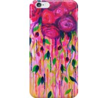ROSES ARE RAD 2- Bold Pink Red Roses Floral Bouquet Vines, Flower Abstract Acrylic Painting Fine Art iPhone Case/Skin