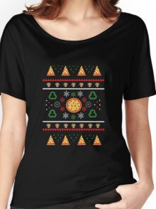 Winter Pizza in Black Women's Relaxed Fit T-Shirt