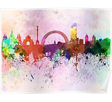 Kiev skyline in watercolor background Poster