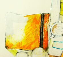 still life with yellow pencil case by donna malone