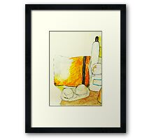 still life with yellow pencil case Framed Print