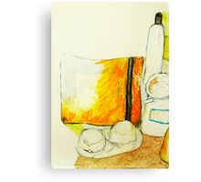 still life with yellow pencil case Canvas Print