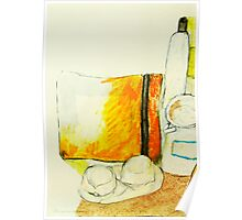 still life with yellow pencil case Poster