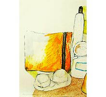 still life with yellow pencil case Photographic Print