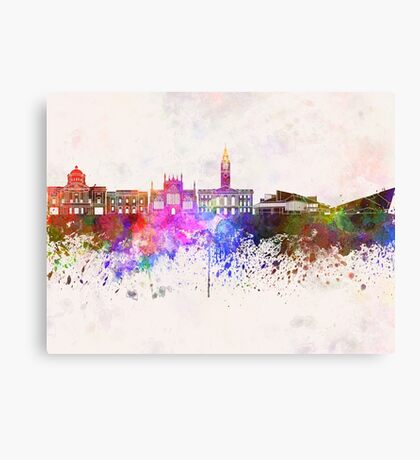 Kingston Upon Hull skyline in watercolor background Canvas Print
