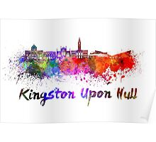 Kingston Upon Hull skyline in watercolor Poster