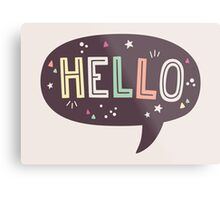 Hello Speech Bubble Typography Metal Print