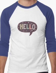 Hello Speech Bubble Typography Men's Baseball ¾ T-Shirt