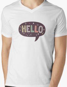 Hello Speech Bubble Typography Mens V-Neck T-Shirt