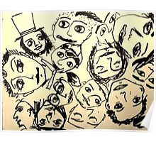The many faces of men, drawing   Poster