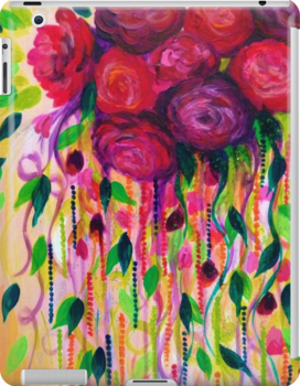 ROSES ARE RAD - Bold Fun Red Roses Floral Bouquet Vines, Flowers Abstract Acrylic Painting Fine Art by EbiEmporium