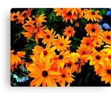 """Cluster of yellow & orange Flowers"" Canvas Print"